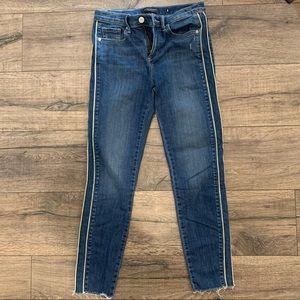 Banana Republic Skinny Jeans with ivory stripes